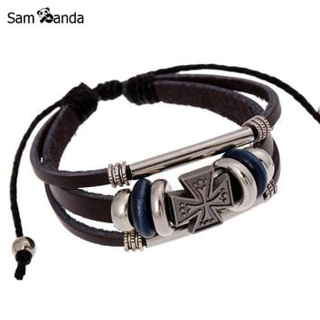 Leather Charm Bracelet Multilayer Maltese Cross Beads Punk Rock Men Black Brown Christian Bracelets Genuine Leather MCC0089