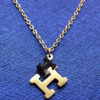 """Hermes stainless steel gold jewellery item with double """"H"""" letter polished necklace F-LCZD-ALRSP"""