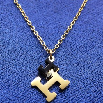"Hermes stainless steel gold jewellery item with double ""H"" letter polished necklace F-LCZD-ALRSP"