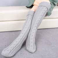 2017 New Fashion Winter Stockings Women Warm Knitted Thigh Socks Crochet High Knee Socks Long Boot Cuffs Christmas Gift