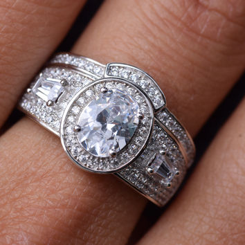 2 Carats Sterling Silver 2 Pieces Oval Cubic Zirconia Bridal Engagement Wedding Halo Ring Set