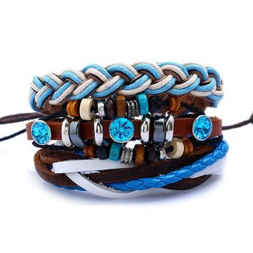 Leather Bracelet men's suit retro woven leather bracelet volcano stone wooden beads