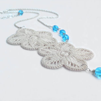 Cream ivory flower necklace turquoise glass beads and crochet romanian point lace with chain READY TO SHIP