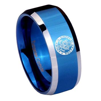 8mm U.S. Army Beveled Edges Blue 2 Tone Tungsten Mens Ring Engraved