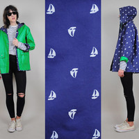 SAILBOAT print Novelty vtg 80's navy HOODED reversible RAINCOAT kelly green slicker