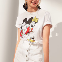 FILA + UO Mickey + Minnie Short Sleeve Disney Tee | Urban Outfitters