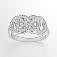 Yours for Infinity Silver-Plated Crystal Double Infinity Ring (White)
