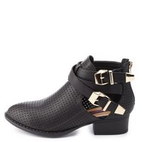 Dollhouse Perforated Cut-Out Ankle Boots by Charlotte Russe - Black