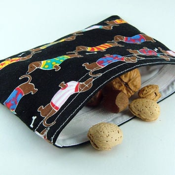 Reusable snack bag - Dachshund dogs black boy girl kid children party favor food storage washable pouch - Sac collation