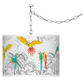 Parrots Giclee Shade Plug-In Swag Pendant Chandelier