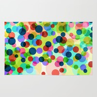 Happy Rainbow Confetti Rug by Miss L In Art