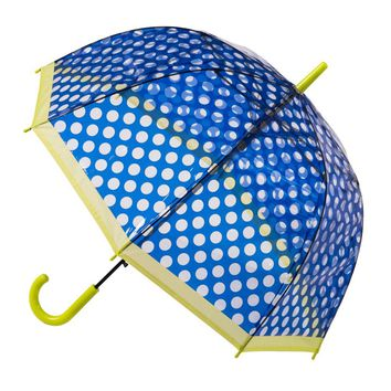 Clear Dome Stick Umbrella with Dark Blue Polka Dots