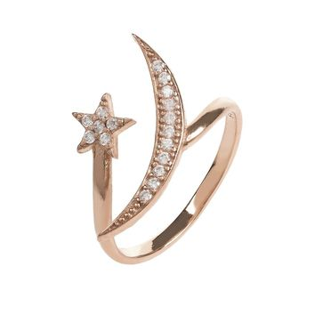 Rosegold White Moon And Star Ring