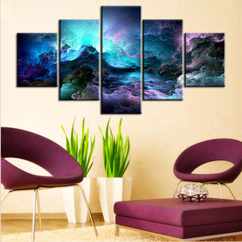 5 pc Set light blue abstract cloud NO FRAME Oil Painting Canvas Prints Wall Art Pictures For Living Room Decorations