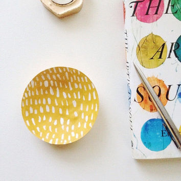 Yellow Geometric Jewelry Dish