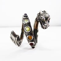 Sterling Silver Chakra Serpent Ring, Dragon Snake Jewelry with Seven Healing Gemstones Vintage 1980s 1990s Chakra Stonesn Sgned CSCL 925