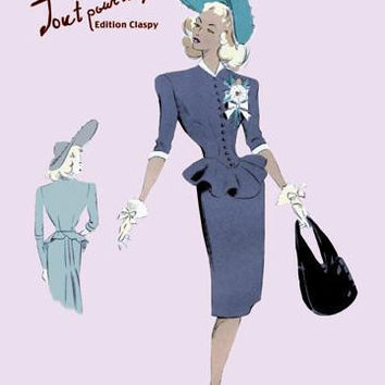 Classy Suit Dress with Hat and Bag 20x30 poster