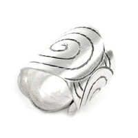 Sterling Silver Cuff Ring,Silver Wide Band Ring,Statement Ring,Engraved Black Spiral Ring, Silver Wrap Ring,Gypsy ring, Boho Ring, Handmade