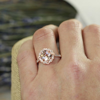 Vintage Floral Morganite Engagement Ring in 14k Rose Gold Milgrain Diamond Wedding Band 8x8mm Cushion Morganite Ring (Custom Made Ring ok)