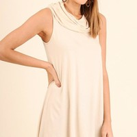 Natural Sleeveless Cowl Neck Top