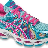 Asics Women's Gel-Nimbus 16 Running Shoe, Iridescent/Pink/Capri Blue, 8 US