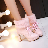Sweet candy color fluffy high-heeled boots