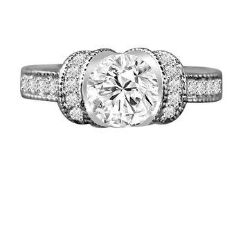 1.25 CT. Intensely Radiant Round Diamond Veneer Cubic Zirconia Classic Vintage Style Miligree Engagement/Wedding Sterling Silver Ring. 635R12826