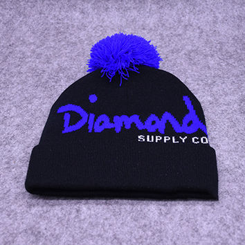 Diamond Supply Co Black & Purple Pom Beanie