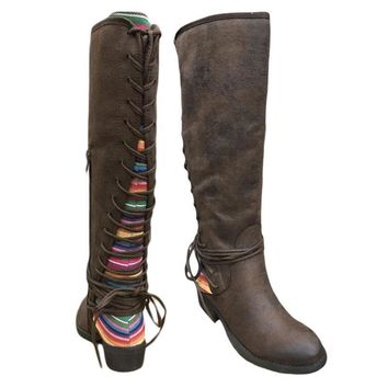 Very Volatile Marcel Serape Tall Lace up Boot