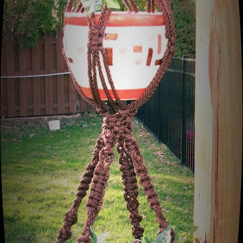 """Macrame Plant Hanger, 50"""", Double, BROWN, 6mm cord, 2 tier, handcrafted, hippy, hippie, boho, retro, 70s, unique, garden decor, frayed tail"""