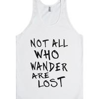 not all who wander are lost blk/wht tank top-jh-Unisex White Tank