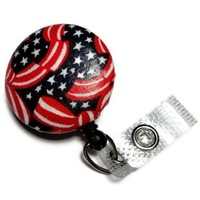 Id Badge Reel Stars Stripes Red White Blue Fabric Button Clip Retract