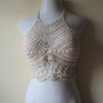 sexy halter top, Crochet , festival top,cropped top, bustier,  bikini cover up, summer days, gyspy, boho chic, Egyptian cotton