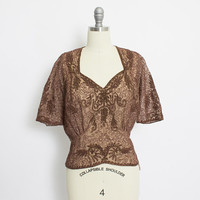 Vintage 1950s Blouse - Brown Sheer Chiffon Beaded Sotache Top 50s - Large L