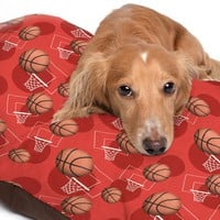 Red Basketball Themed Pattern Pet Bed - 3 Sizes