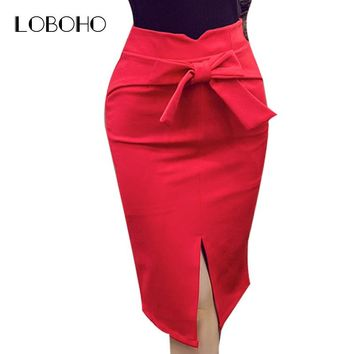 Women Pencil Skirt Plus Size Autumn Winter New Fashion Knee Length High Waist Casual Bodycon Skirt Elegant Open Slit Bow Skirt