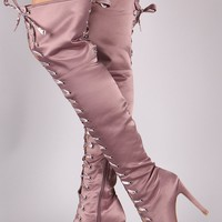 Lace-Up Satin Peep Toe Stiletto Over-The-Knee Boots
