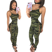 Camouflage Straps Side Lace-up Design Jumpsuit