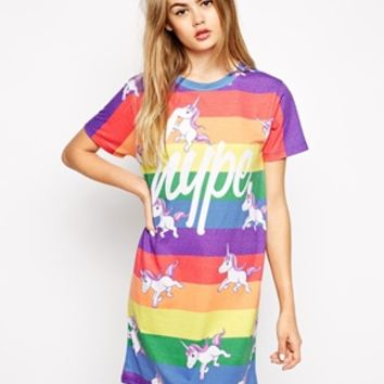 Hype T-Shirt Dress With Rainbow Unicorn Print at asos.com