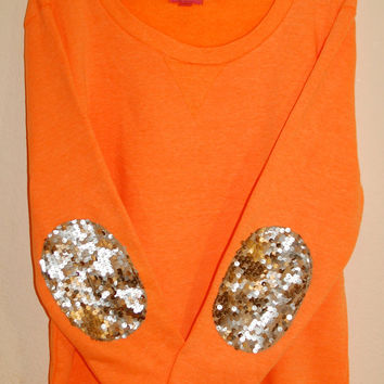 "The ""Dazzle Patch"" Sweatshirt  w/Sequin Elbow Patch"
