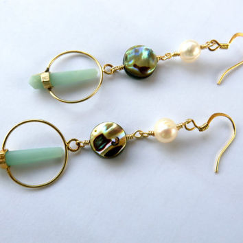 Crystal Point Hoop Earrings Amazonite Abalone Pearl Paua Shell Chandelier Gold Mint Quartz Long Dangle Jewelry Azeetadesigns