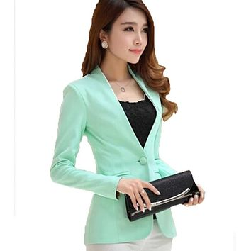 Free Shipping 2016 Spring Autumn Women Korean long-sleeved shrug suit Jackets,Slim candy color Blazers S M L XL QY1067
