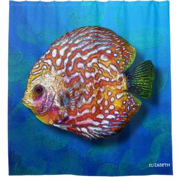 Psychedelic Colorful Exotic Discus Fish Drawing Shower Curtain