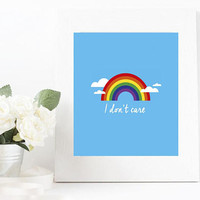 "Minimalist Artsy and Cute Art Poster -  ""I don't care"" Original Illustration-  Photographic Fine Art 12x18 inches Print"