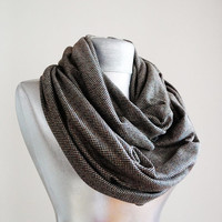 Handmade Infinity Scarf - Thick Cotton Jersey - Black Brown - Winter Autumn Scarf - Men Unisex Scarf