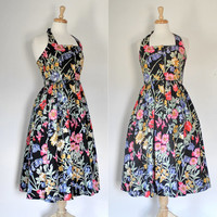 Vintage 80s Dress / Rockabilly Halter Style Frock / Floral Cotton Swing Dress / Spring Summer / Together / 80s Fashion