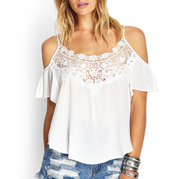 FOREVER 21 Open-Shoulder Peasant Top Cream Large