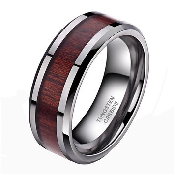 Tungsten Carbide Ring Koa Wood Inlay For Men Women High Polished Edges