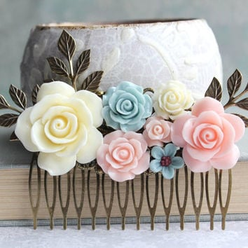 Big Rose Hair Comb Romantic Floral Collage Light Blue Rose Cream Ivory Flower Hair Piece Blush Pink and Blue Leaf Bridal Comb Bridemaid Gift