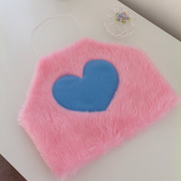 SUPER CUTE!!!! Pink and blue faux fur fluffy crop top - size uk 10